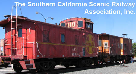 The Southern California Scenic  Railway Association, Inc. (SCSRA) displays its two vintage cabooses  at Fullerton Amtrak Station